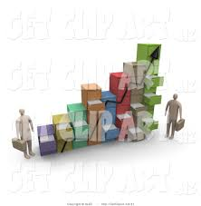 3d Clip Art Of Two Businessmen Standing By A Chart Made Of