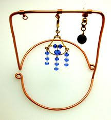 Jewelry Stands And Displays Wire wrapped pendant with tiger's eye bead With display stand out 68