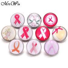 6pcs/lot New Snap Button <b>Jewelry Rhinestone Pink Ribbon</b> Breast ...