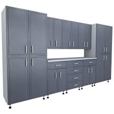 closetmaid 80 5 in x 144 in x 21 in progarage premium storage systems in gray 9 pieces