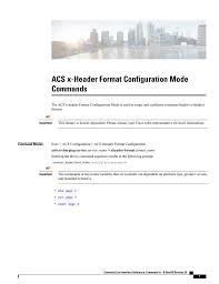 Acs X Header Format Configuration Mode Commands Manualzzcom