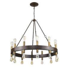 light wood finish wagon wheel chandelier with downlights n