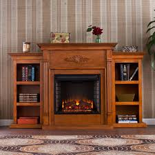 southern enterprises tennyson pine electric fireplace with bookcases hover to zoom