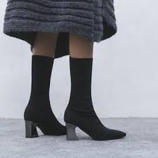 Yesstyle Shoe Size Chart Pointed Toe Chunky Heel Sock Boots