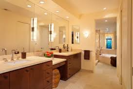 after sconces on large mirrors at the sink vanities now offer functional task lighting recessed cans on dimmers provide ambient light for whatever mood is bathroom sink lighting