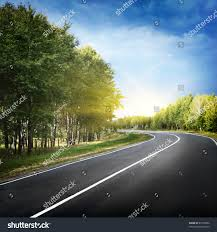 Empty Curved Roadblue Sky Sun Stock Photo 61599592 Shutterstock