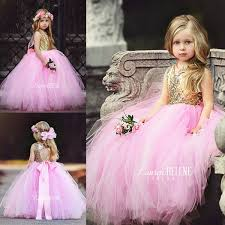 Puffy <b>Pink Tulle Little Girls</b> Pageant Dresses Top Gold Sequin Floor ...
