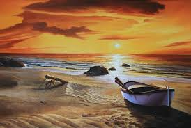 craft canvas printed modern picture warm color art the beach scene in sunset from hand painted oil painting free in painting calligraphy from