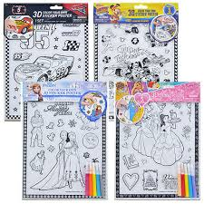 disney 3d color your own sticker posters with markers