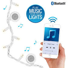 Bluetooth Speaker String Lights New Bright Tunes IndoorOutdoor White LED String Lights With Bluetooth