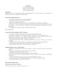Phlebotomist Resume Objective Phlebotomist Resume Samples John Doe ...