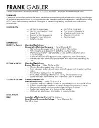 Chemical Technician Resume Resume For Study