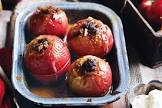 baked apples with rum soaked raisins