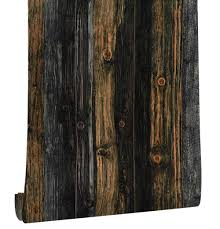 Haokhome Vintage Houtnerf Pvc Behang Rolls Houten Plank Contact