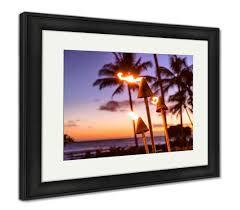 Framed Print, <b>Hawaii</b> Sunset With Fire Torches Hawaiian Icon Lights ...