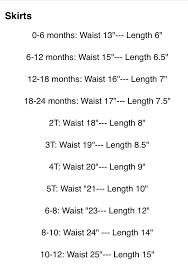 Crochet Baby Skirt Size Chart Baby Skirt Measurements Baby Skirt Baby Chart Crochet Baby