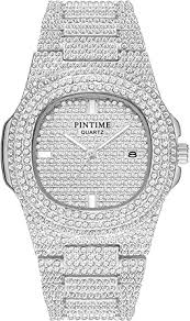 Unisex Luxury <b>Full Diamond</b> Watches <b>Silver</b>/Gold <b>Fashion</b> Quartz ...