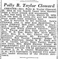 Porvelline (Polly) Barnett Taylor Cloward Obituary 1933 Spouse is Lewis V  Cloward - Newspapers.com