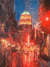 painted downtown san antonio in the rain acrylic painting