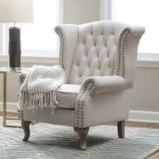 White Leather Living Room Chair Belham Living Tatum Tufted Arm Chair With Nailheads From