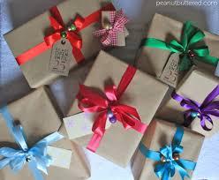 ... stylish christmas wrapping, kraft wrapping paper, mini baubles, satin  ribbon, nice christmas