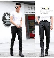 fashion men s leather pants skinny fit men faux leather pencil pants trousers with zipper black plus