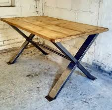 distressed industrial furniture. Steel \u0027X\u0027 Frame Table With Distressed Reclaimed Industrial Furniture