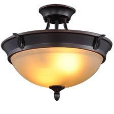 hampton bay 2 light bronze semi flush mount light