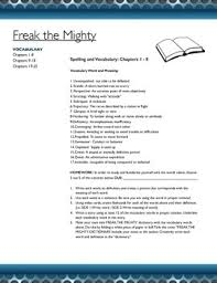 freak the mighty story vocabulary and related assignments freak the mighty story vocabulary and related assignments