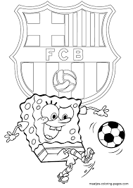 Small Picture SpongeBob SquarePants coloring pages Playing soccer