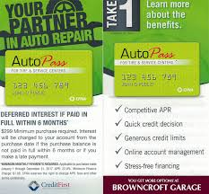 browncroft garage now lets customers use credit first national ociation cfna as an automotive credit card provider