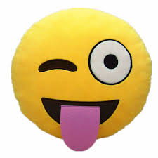 Wink Tongue Out Cheeky Emoji Pillow 12 5 Inch Large Yellow Smiley