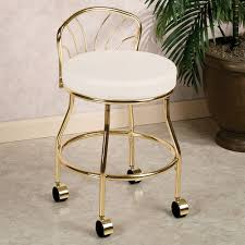 white and gold vanity stool. Rolling Vanity Stool With Gold Legs To White And