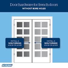 french doors non turning door hardware schlage