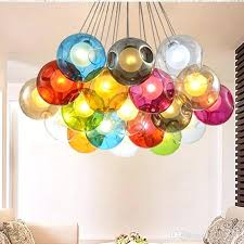 colorful chandeliers colorful glass ball led chandelier lamp 3 of glass spheres modern light color bubble
