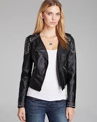 black embellished leather biker jackets guess jacket faux leather moto