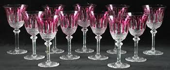 cranberry cut to clear crystal wine goblets