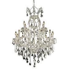 elegant lighting 19 light chrome chandelier with clear crystal
