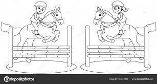 Vettore Bambini Cavallo Nero Bambini A Cavallo Concorrenza In