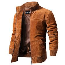 flavor men s leather jacket vintage suede brown pigskin slim fit