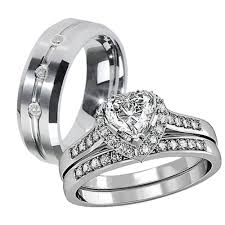 His Hers 3 Pcs Tungsten 3 Czs Matching Band Women Heart Cut Cheap Matching Wedding Bands His And Hers