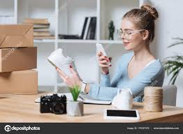 shop home office. Online Shop Owner Taking Picture Product Smartphone Home Office \u2014 Stock Photo