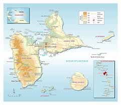 large elevation map of guadeloupe with roads cities and other