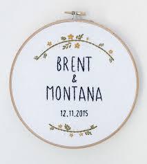 Custom Wedding Name Date Embroidered Hoop Art 2715275