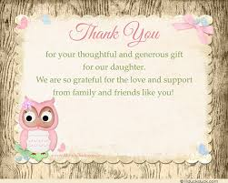 Baby Shower Thank You Card Verse Ideas  Pink OwlOwl Baby Shower Thank You Cards
