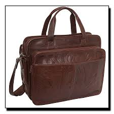 ropin west hand tooled leather computer briefcase medium dj 253s