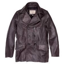 vintage leather naval officers coat in distressed brown