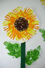 Sonnenblume Aus Handabdrücken Manualidades Sonnenblume Basteln