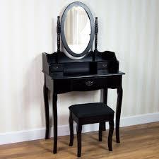 details about nishano dressing table 3 drawer stool mirror bedroom furniture makeup desk black
