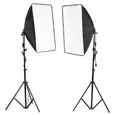 photo studio continuous lighting kit 2 lamp softbox with 2 light stand